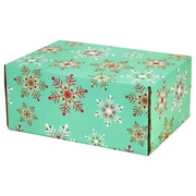 "06.2""(L)X 3.7""(W)X9.5""(H) GPP Gift Shipping Box, Holiday Line, Teal Snowflakes, 48/Pack"