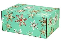 06.2'(L)X 3.7'(W)X9.5'(H) GPP Gift Shipping Box, Holiday Line, Teal Snowflakes, 48/Pack