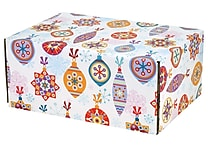 06.2'(L)X 3.7'(W)X9.5'(H) GPP Gift Shipping Box, Holiday Line, Festive Ornaments, 48/Pack