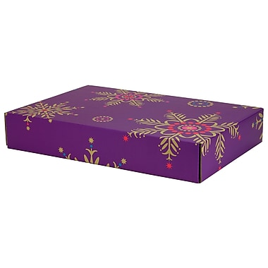 GPP Gift Shipping Box, Holiday Line, Purple Snowflakes