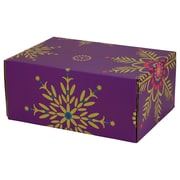 "08.8""(L)X 5.5""(W)X12.2""(H) GPP Gift Shipping Box, Holiday Line, Purple Snowflakes, 6/Pack"