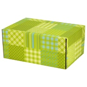 06.2(L)X 3.7(W)X9.5(H) GPP Gift Shipping Box, Lisa Line, Patchwork Green, 48/Pack