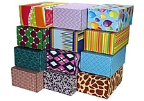 06.2'(L)X 3.7'(W)X9.5'(H) GPP Gift Shipping Box, Classic Line, Assorted Styles, 48/Pack