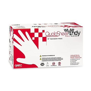 QRP Premium Vinyl Disposable Gloves, 9 Inch, Large