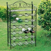 International Caravan Mandalay 24 Bottle Hanging Wine Rack; Black