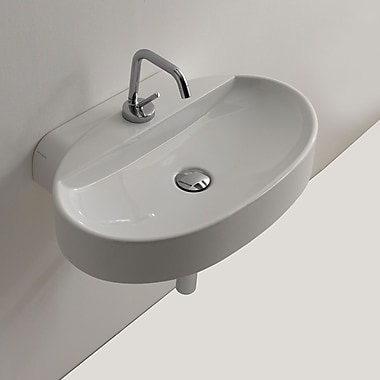 WS Bath Collections Cento Ceramic Wall Mounted Vessel Bathroom Sink
