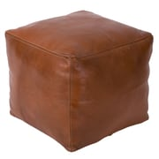 Casablanca Market Moroccan Square Leather Ottoman; Tobacco