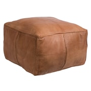 Casablanca Market Moroccan Leather Pouf Ottoman; Tan
