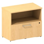Bush Business 300 Series 30W Cabinet with Lateral File, Natural Maple, Installed