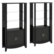 Bush Furniture Aero Set of (2) 2-Door Tall Library Storage, Classic Black