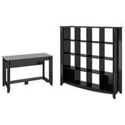 Bush Furniture Aero Writing Desk and 16-Cube Bookcase/Room Divider, Classic Black