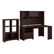 Bush Furniture Buena Vista Corner Desk with 60W Hutch & 6 Cube Storage, Madison Cherry