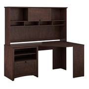 Bush Furniture Buena Vista Corner Desk & 60W Hutch, Madison Cherry