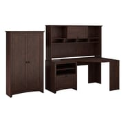Bush furniture buena vista corner desk with 60w hutch 2 door tall storage madison cherry - Staples corner storage ...