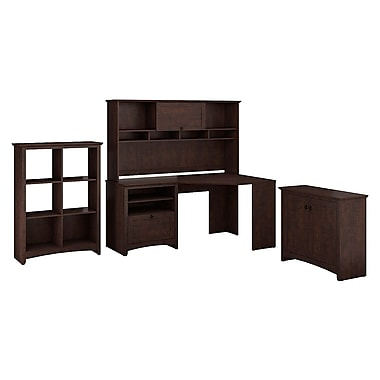 Bush furniture buena vista corner desk with hutch low storage 6 cube storage madison cherry - Storage staples corner ...