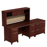 Bush Business Furniture Enterprise 60W Double Pedestal Desk with Hutch and Lateral File, Harvest Cherry (ENT002CSFA)