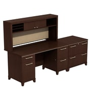 Bush Business Furniture Enterprise 60W Double Pedestal Desk with Hutch and Lateral File, Mocha Cherry (ENT002MRFA)