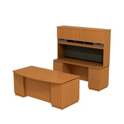 Bush Business Milano2 72W Bowfront Double Pedestal Desk with 72W Kneespace Credenza and 72W Hutch, Golden Anigre, Installed