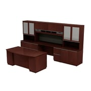 Bush Business Milano2 72W Bowfront Double Pedestal Desk with 72W Kneespace Credenza and Storage Wall, Harvest Cherry, Installed