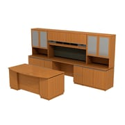 Bush Business Milano2 72W Bowfront Double Pedestal Desk with 72W Kneespace Credenza and Storage Wall, Golden Anigre, Installed