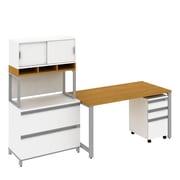 Bush Industries Momentum Desk, 2 & 3-Drawer Mobile Pedestal & Hutch Storage-D&I, Modern Cherry