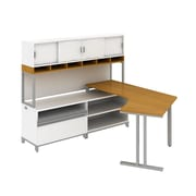 Bush Business Momentum Floating Dog-Leg Left Hand L-Station with 72W Hutch and 24H Storage, Modern Cherry, Installed