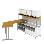 Bush Industries Momentum Right-Hand Dog-Leg Left Desk with Hutch, Filer, Cherry