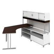 Bush Industries Momentum Right-Hand Dog-Leg Left Desk with Hutch, Filer, Cherry, Mocha
