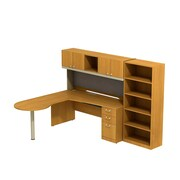 Bush Business Quantum 72W Left Hand Peninsula L-Desk with Hutch, Pedestal and Bookcase, Harvest Cherry, Installed