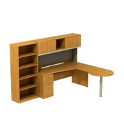 Bush Business Quantum 72W Right Hand Peninsula L-Desk with Hutch, Pedestal and Bookcase, Modern Cherry, Installed