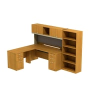 Bush Business Quantum 72W Left Hand L-Station with Hutch, Pedestals and 5-shelf Bookcase, Modern Cherry, Installed