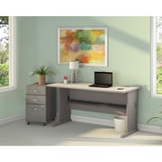 Bush Business Cubix 36W Desk with 48W Corner Desk & Mobile Pedestal, Pewter/White Spectrum