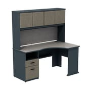 Bush Business Cubix 60W Single Pedestal Corner Desk with Hutch, Slate/White Spectrum, Installed