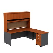 Bush Business Westfield 72W L-Desk with 4-Door Hutch and 3-Drawer Mobile Pedestal, Autumn Cherry/Graphite Gray, Installed