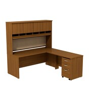 Bush Business Westfield 72W L-Desk with 4-Door Hutch and 3-Drawer Mobile Pedestal, Cafe Oak, Installed