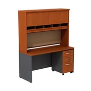 Bush Business Westfield 60W Desk/Credenza Shell with Hutch and 3-Dwr Mobile Pedestal, Autumn Cherry/Graphite Gray, Installed