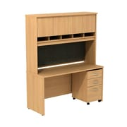 Bush Business Westfield 60W Desk/Credenza Shell with Hutch and 3-Dwr Mobile Pedestal, Danish Oak, Installed