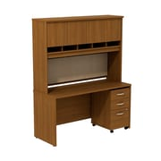 Bush Business Westfield 60W Desk/Credenza Shell with Hutch and 3-Dwr Mobile Pedestal, Cafe Oak, Installed