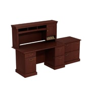 Bush Business Syndicate 60W x 30D Double Pedestal Desk with Hutch and Lateral File, Harvest Cherry, Installed