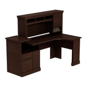 Bush Business Syndicate Expandable Corner Workstation with Hutch, Mocha Cherry, Installed