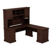 Bush Business Syndicate 72W x 72D L-Desk with Hutch, Mocha Cherry, Installed