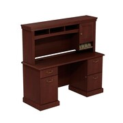 Bush Business Syndicate 60W x 22D Double Pedestal Desk with Hutch, Harvest Cherry, Installed