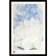 """Diamond Decor """"White Rose with Larkspur"""" Framed Print Art"""