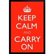 "Diamond Decor ""Keep Calm And Carry On"" Red Motivational Framed Art Print Poster"