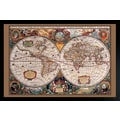 Diamond Decor in.17th Century World Mapin. Framed Poster