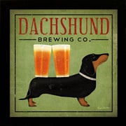 "Diamond Decor ""Dachshund Brewing co"" Framed Art Print Poster"