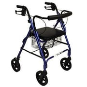 Roscoe Medical Deluxe Rollator with Padded Seat; Blue