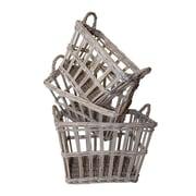 White x White French 3 Piece Rectangular Basket Set
