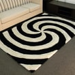 DonnieAnn Company Shaggy Black Abstract 2-Tone Large Swirl Rug