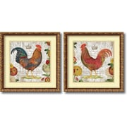 Amanti Art 'Rooster, gold frame' by Suzanne Nicoll 2 Piece Framed Art Print Set